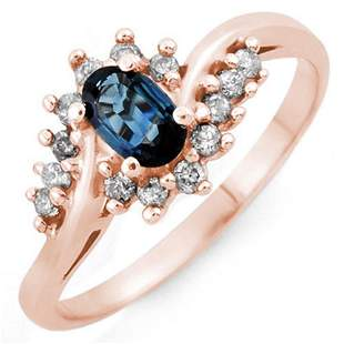 0.50 ctw Blue Sapphire & Diamond Ring 14k Rose Gold -