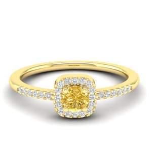 0.45 ctw CITRIEN & Micro Pave VS/SI Diamond Ring 18k