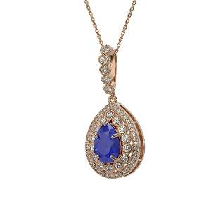4.97 ctw Sapphire & Diamond Victorian Necklace 14K Rose