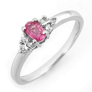 0.44 ctw Pink Sapphire & Diamond Ring 10k White Gold -