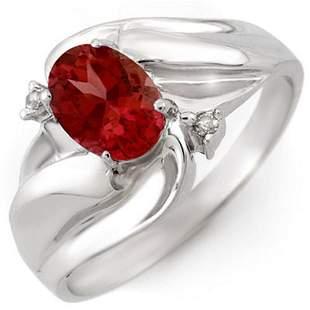 1.02 ctw Pink Tourmaline & Diamond Ring 10k White Gold