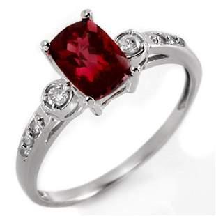 1.45 ctw Pink Tourmaline & Diamond Ring 10k White Gold
