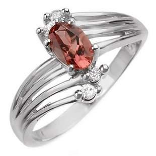 0.65 ctw Pink Tourmaline & Diamond Ring 10k White Gold