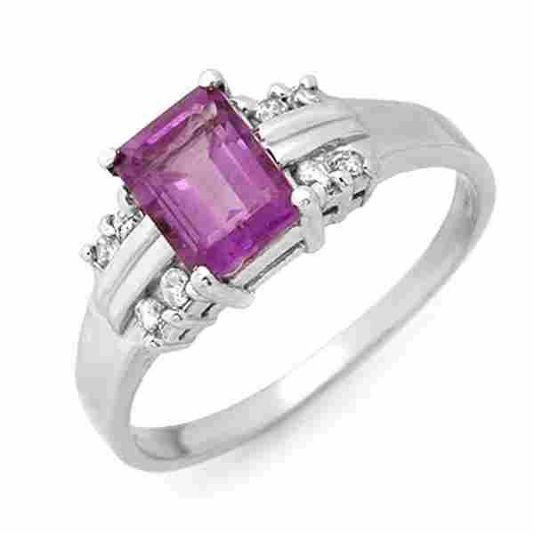 1.41 ctw Amethyst & Diamond Ring 18k White Gold -