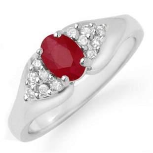 0.83 ctw Ruby & Diamond Ring 18k White Gold - REF-32W8H