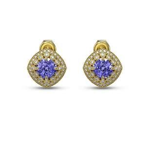 5.09 ctw Tanzanite & Diamond Victorian Earrings 14K