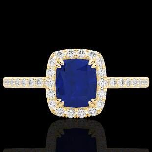 1.25 ctw Sapphire & Micro Pave VS/SI Diamond Ring 10k