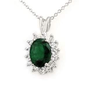 1.80 ctw Emerald & Diamond Pendant 18k White Gold -