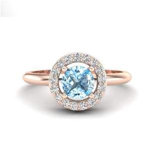 0.75 ctw Sky Blue Topaz & Micro Pave VS/SI Diamond Ring