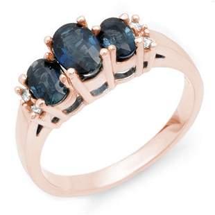 1.34 ctw Blue Sapphire & Diamond Ring 14k Rose Gold -