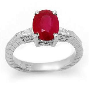 3.70 ctw Ruby & Diamond Ring 14k White Gold - REF-49W5H