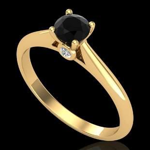 0.4 ctw Fancy Black Diamond Engagment Art Deco Ring 18k
