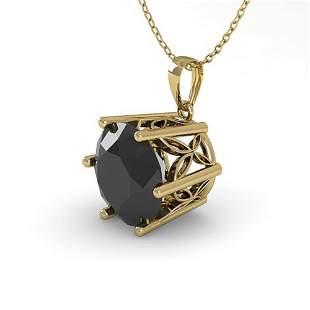 1 ctw Black Diamond Art Deco Necklace 14k Yellow Gold -