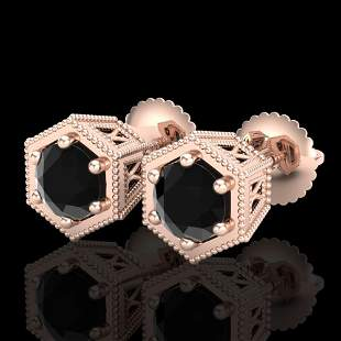 1.15 ctw Fancy Black Diamond Art Deco Stud Earrings 18k