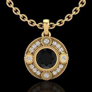 1.01 ctw Fancy Black Diamond Art Deco Stud Necklace 18k