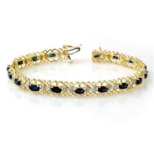 7.02 ctw Blue Sapphire & Diamond Bracelet 10k Yellow