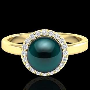 0.25 ctw Micro Pave VS/SI Diamond & Peacock Pearl Ring