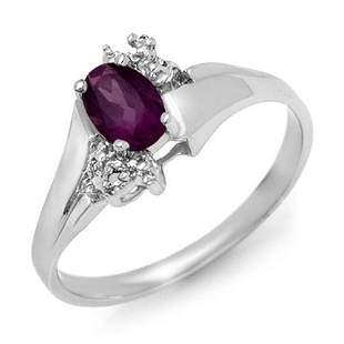 0.55 ctw Amethyst & Diamond Ring 18k White Gold -