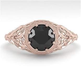 1.0 ctw Black Certified Diamond Ring Art Deco 14k Rose