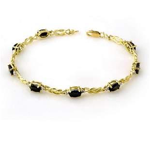 5.32 ctw Blue Sapphire & Diamond Bracelet 10k Yellow