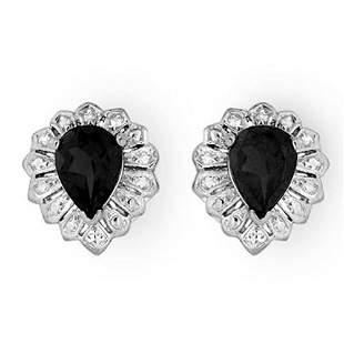 2.20 ctw Blue Sapphire Earrings 18k White Gold -