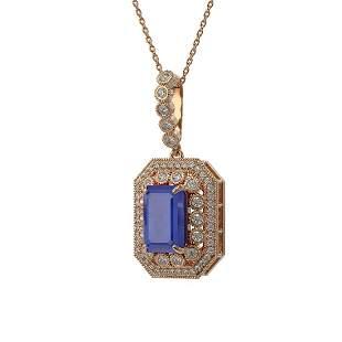 7.18 ctw Sapphire & Diamond Victorian Necklace 14K Rose