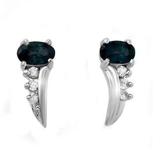 0.55 ctw Blue Sapphire & Diamond Earrings 18k White