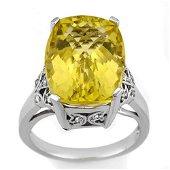 12.20 ctw Lemon Topaz & Diamond Ring 14k White Gold -