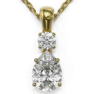 0.9 ctw Pear Cut Diamond Designer Necklace 18K Yellow