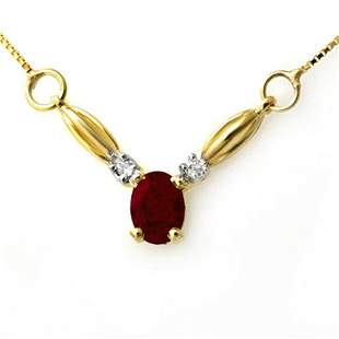 1.30 ctw Ruby & Diamond Necklace 10k Yellow Gold -