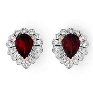 2.20 ctw Garnet Earrings 18k Rose Gold - REF-21X3A