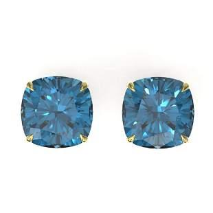 12 ctw Cushion London Blue Topaz Designer Stud Earrings