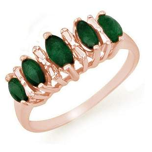 0.70 ctw Emerald Ring 10k Rose Gold - REF-13A2N