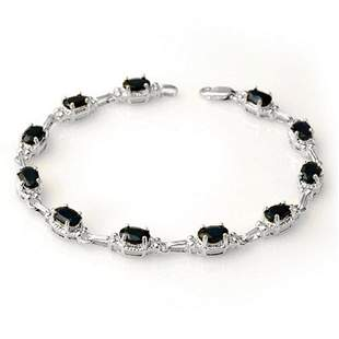 7.33 ctw Blue Sapphire Bracelet 14k White Gold -