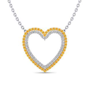 2.50 ctw Yellow Sapphire & VS/SI Diamond Heart Necklace