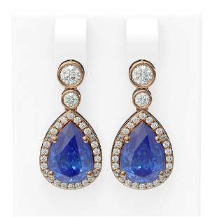 2.8 ctw Tanzanite & Diamond Earrings 18K Rose Gold -