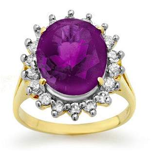 4.0 ctw Amethyst & Diamond Ring 14k Yellow Gold -