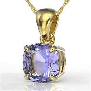 2 ctw Cushion Cut Tanzanite Designer Necklace 18k