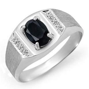 2.0 ctw Blue Sapphire Men's Ring 10k White Gold -