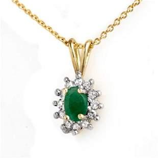 0.51 ctw Emerald & Diamond Pendant 10k Yellow Gold -