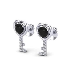 0.80 ctw Black Diamond Micro Key to The Heart Earrings