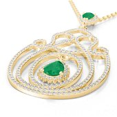 3.20 ctw Emerald & Micro Pave Diamond Heart Necklace