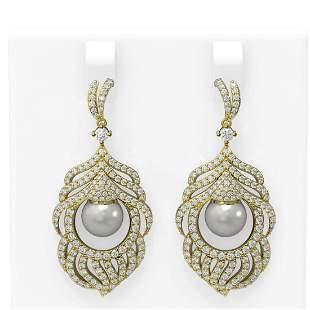 3.52 ctw Diamond & Pearl Earrings 18K Yellow Gold -