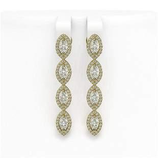 3.84 ctw Marquise Cut Diamond Micro Pave Earrings 18K