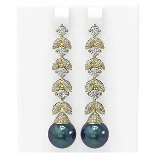 3.32 ctw Diamond & Pearl Earrings 18K Yellow Gold -