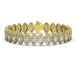17.55 ctw Marquise Cut Diamond Micro Pave Bracelet 18K