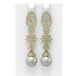 3.61 ctw Diamond & Pearl Earrings 18K Yellow Gold -