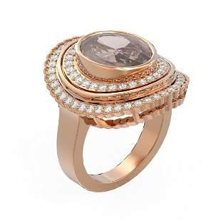 6.46 ctw Morganite & Diamond Ring 18K Rose Gold -