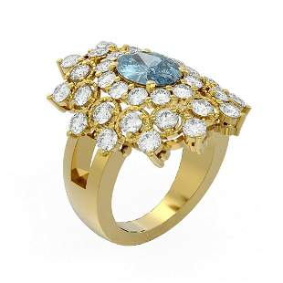 6.22 ctw Blue Topaz & Diamond Ring 18K Yellow Gold -