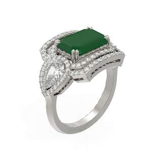 8.23 ctw Emerald & Diamond Ring 18K White Gold -